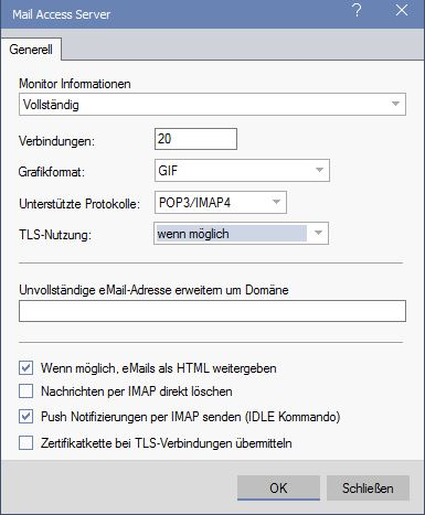 david fx Mail Access Server-Konfiguration